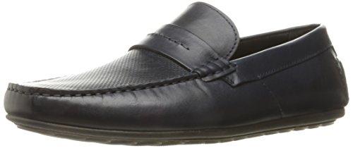 HUGO by Hugo Boss Men's Travelling Dandy Moccasin in Navy Leather Slip-on Loafer, Dark Blue, 41 EU/8-8.5 M US