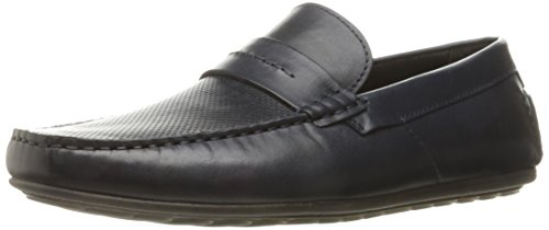 HUGO by Hugo Boss Men's Travelling Dandy Moccasin in Navy Leather Slip-on Loafer, Dark Blue, 41 EU/8-8.5 M US