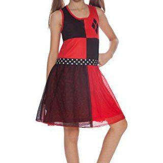 DC Comics Big Girls' Harley Quinn 'Costume' Pajama Nightgown, Red, 6/6X