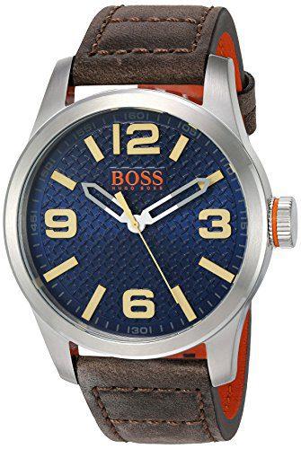 BOSS Orange Men's 'Paris' Quartz Stainless Steel and Beige Leather Casual Watch