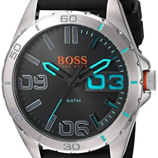 BOSS Orange Men's Quartz Stainless Steel and Resin Watch, Color Grey