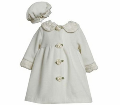 Ivory Fleece Coat with Rolled Flowers and Matching Hat 4T