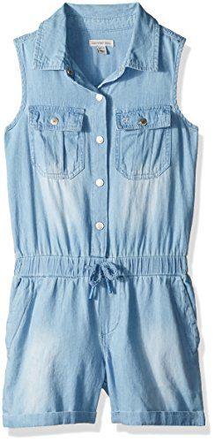 Calvin Klein Toddler Girls' Short Jumpsuit, Sky, 2T