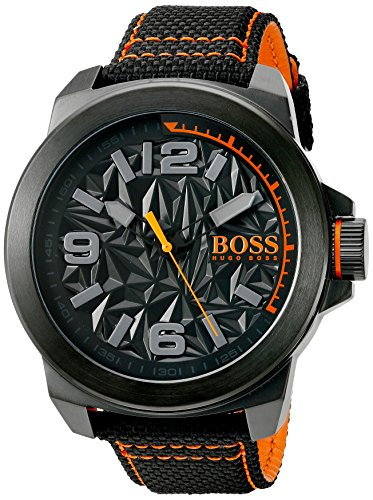 BOSS Orange Men's 'New York' Quartz Resin and Canvas Casual Watch, Color Black