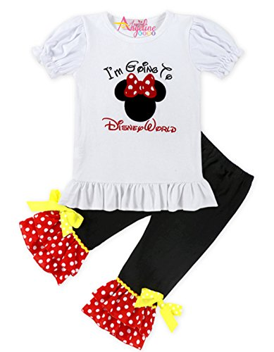 Toddler Little Girls I Am Going to Disney Land Minnie Mouse Head Capri Set 6