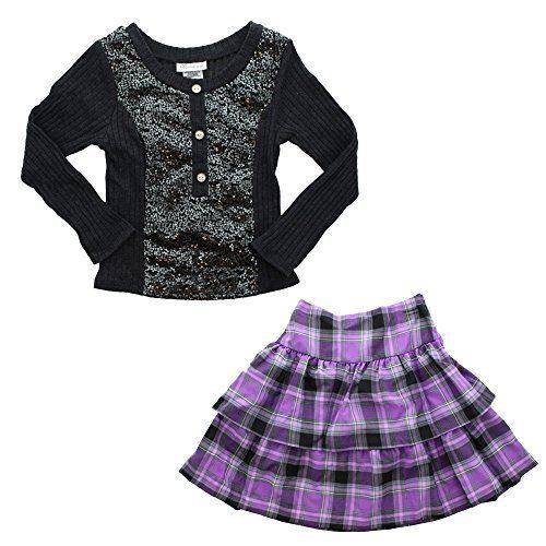 Bonnie Jean Big Girl's 2 PC Sequin Sweater/Plaid Skirt Set-SL (8)