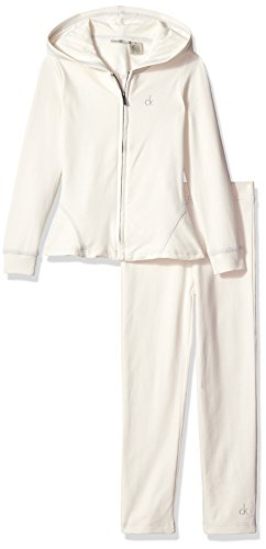Calvin Klein Toddler Girls' Fleece Jacket with Pants Set, Snow Cap, 2T