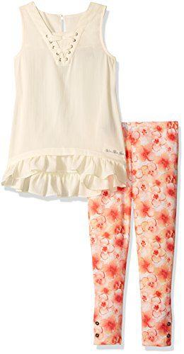 Calvin Klein Little Girls' 2 Pieces Tunic Pant Set-Printed, Butter Crème, 6