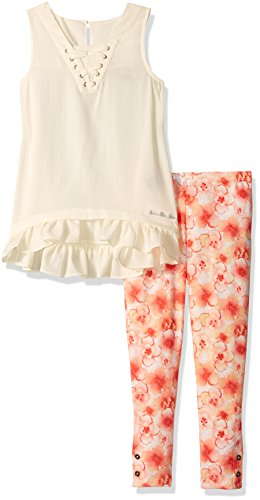 Calvin Klein Little Girls' 2 Pieces Tunic Pant Set-Printed, Butter Crème, 6