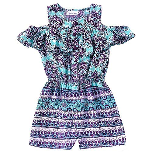 Bonnie Jean Little Girls Purple Art Deco Print Ruffle Cold Shoulder Romper 5