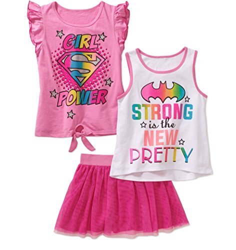 Girls Supergirl Batgirl 3 pc T-Shirt, Tanktop, Tutu Skirt/Scooter (6/6X)