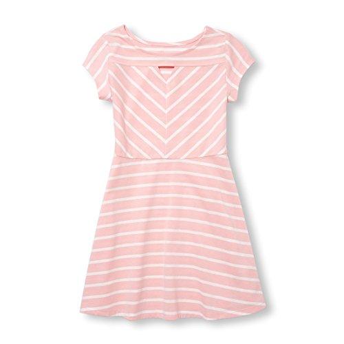 Children's Place Big Girls' Short Sleeve Pleated Dress, Light Plum