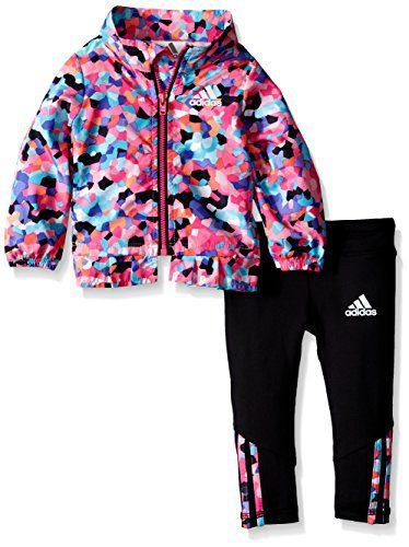 adidas Baby Girls' Wind Jacket and Pant Set, Mosaic Print, 3 Months