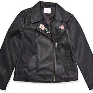 The Children's Place Big Girls' Moto Jacket, Black, M (7/8)
