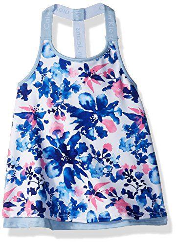 Calvin Klein Toddler Girls' Layered Tank, White, 4T