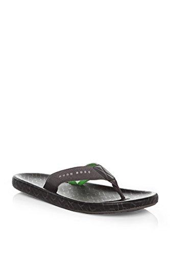 HUGO BOSS Men Toe-Separator Sandals With Logo Straps: 'Shoreline Sunshine' Black (6-7)