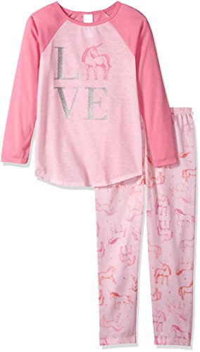 The Children's Place Big Girls' Unicorn Love 2 Piece Sleepwear Set, Whisperpnk, M (7/8)