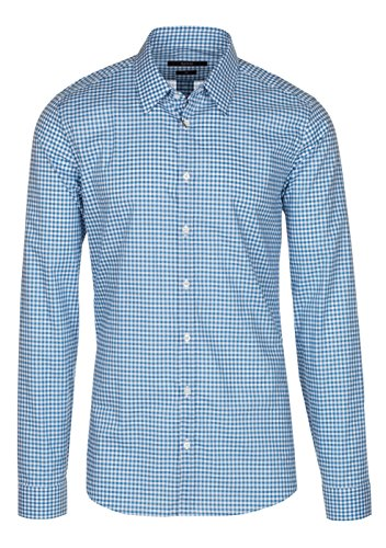 Gucci Men's Blue Vichy Check Print Slim Fit Button Down Dress Shirt, Blue, 15