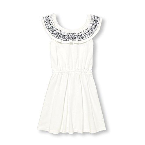 The Children's Place Big Girls' Off Shoulder Dressy Dresses, Simplywht, L (10/12)