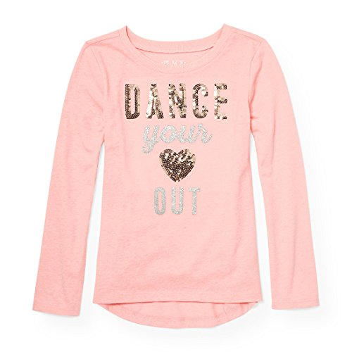 The Children's Place Big Girls' Long Sleeve T-Shirt 2, Pink Sea Salt, XS (4)