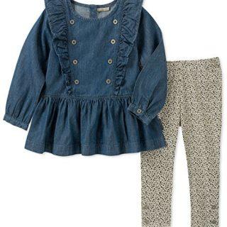 Calvin Klein Toddler Girls' 2 Pieces Tunic Legging Set, Dark Wash/Print, 3T