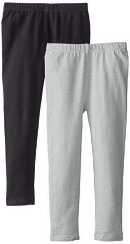 The Children's Place Big Girls' Solid Legging (Pack of 2), Black/Heather Grey, Small (5/6)