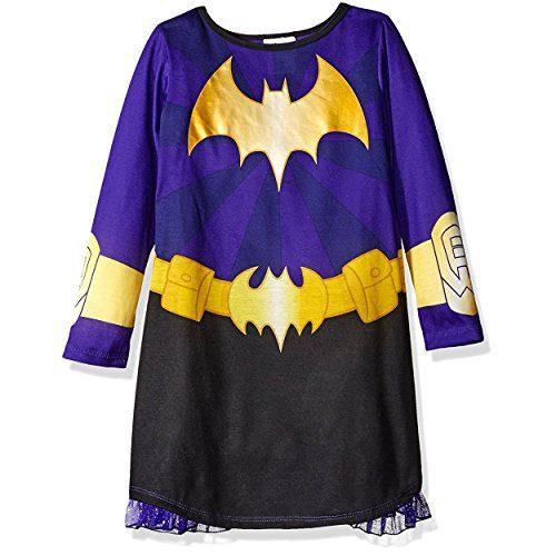 DC Comics Big Girls' Batdc Hero Long Sleeve Dorm with Cape, Black/Purple, 6/6X