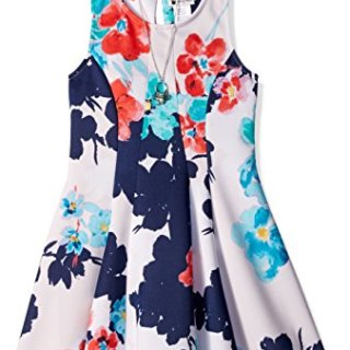 Sweet Heart Rose Big Girls' Sleeveless Floral Knit Dress with Butterfly Necklace, White/Blue, 10