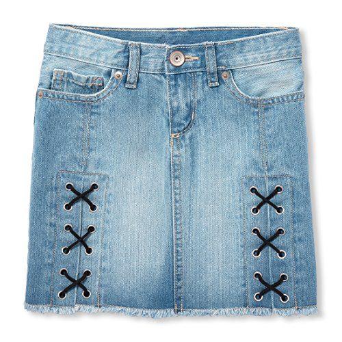 The Children's Place Big Girls' Fashion Denim Skirt, Light Blue Msty Wash, 8