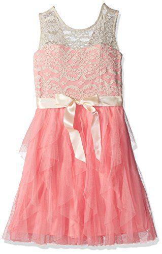 Rare Editions Big Girls' Lace Illusion Party Dress, Ivory/Blush, 16