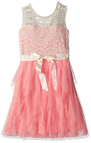 Rare Editions Big Girls' Lace Illusion Party Dress, Ivory/Blush, 16