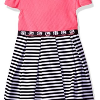 Sweet Heart Rose Little Girls' Striped Crinoline Dress with Rhinestone Waist, Pink/Black/White, 6