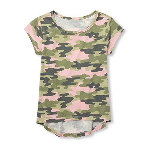 The Children's Place Big Girls' Printed Short Sleeve Layering Top, Light Plum, L (10/12)