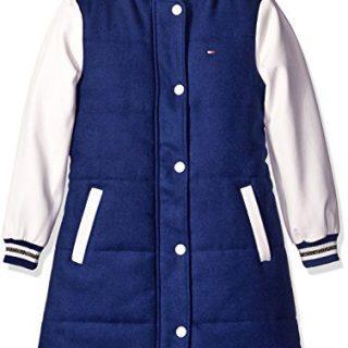 Tommy Hilfiger Big Girls' Baseball Jacket, Flag Blue, Large/12/14