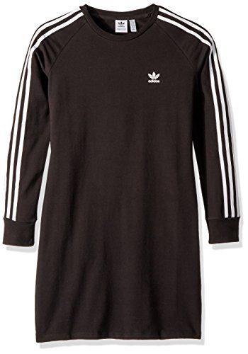 adidas Originals Big Girls' Trefoil Dress, Black/White, M