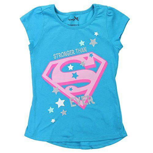 DC Comics Little Girls' Supergirl Logo Glitter Tee (2T)