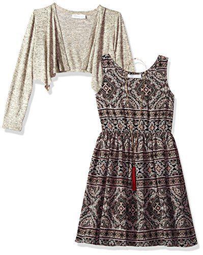 Bonnie Jean Big Girls' Little Two Piece Dress and Cardigan Set, Beige, 10