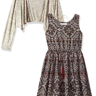 Bonnie Jean Big Girls' Little Two Piece Dress and Cardigan Set, Beige, 10
