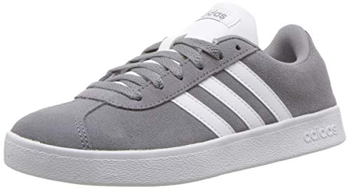 adidas Kids' VL Court 2.0 Sneaker, Grey/White/Grey, 7 M US Big Kid
