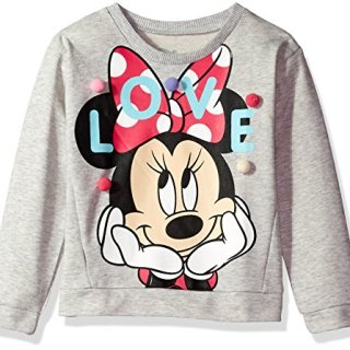 Disney Little Girls' Minnie Mouse French Terry Pom Pullover, Heather Grey, 4/5