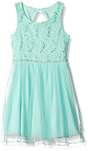 Speechless Big Girls' Lace Sparkle Waist Party Dress, Ice Blue, 14