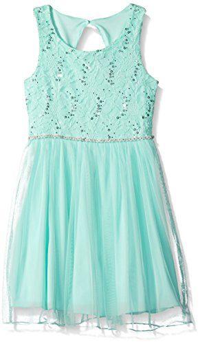 Speechless Big Girls' Lace Sparkle Waist Party Dress, Ice Blue, 14