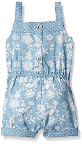 7568000ec1c Home   Shop   Kids   Girls   Clothing   Jumpsuits   Rompers   Calvin Klein  Little Girls  Floral Printed Denim Romper