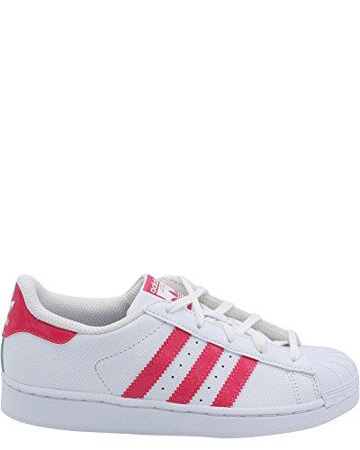 Adidas Unisex-Kids Superstar C, White/Real Pink/White, 3 M US Little Kid