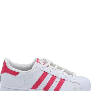 Adidas Unisex-Kids Superstar C, White/Real Pink/White, 3 M US Little Kid