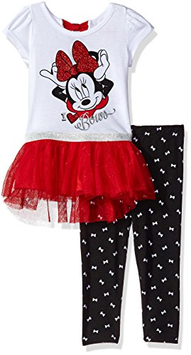 Disney Little Girls' 2 Piece Minnie Mouse Tunic with Tulle Legging Set, White, 6