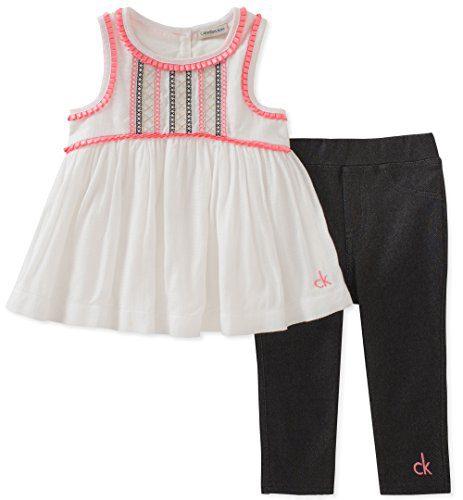 Calvin Klein Little Girls' Tunic Set, White/Black Wash, 6X