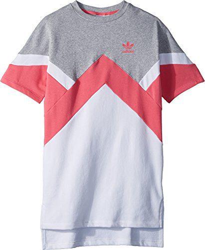 adidas Originals Kids Girl's Modern French Terry Dress (Little Kids/Big Kids) Medium Grey Heather/Real Pink/White Large