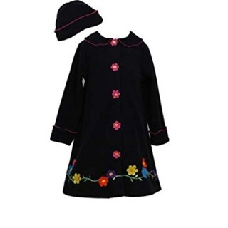 Bonnie Jean Girls Flower Fleece Coat & Hat Set, Black, 5