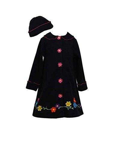 Bonnie Jean Girls Flower Fleece Coat & Hat Set, Black, 5